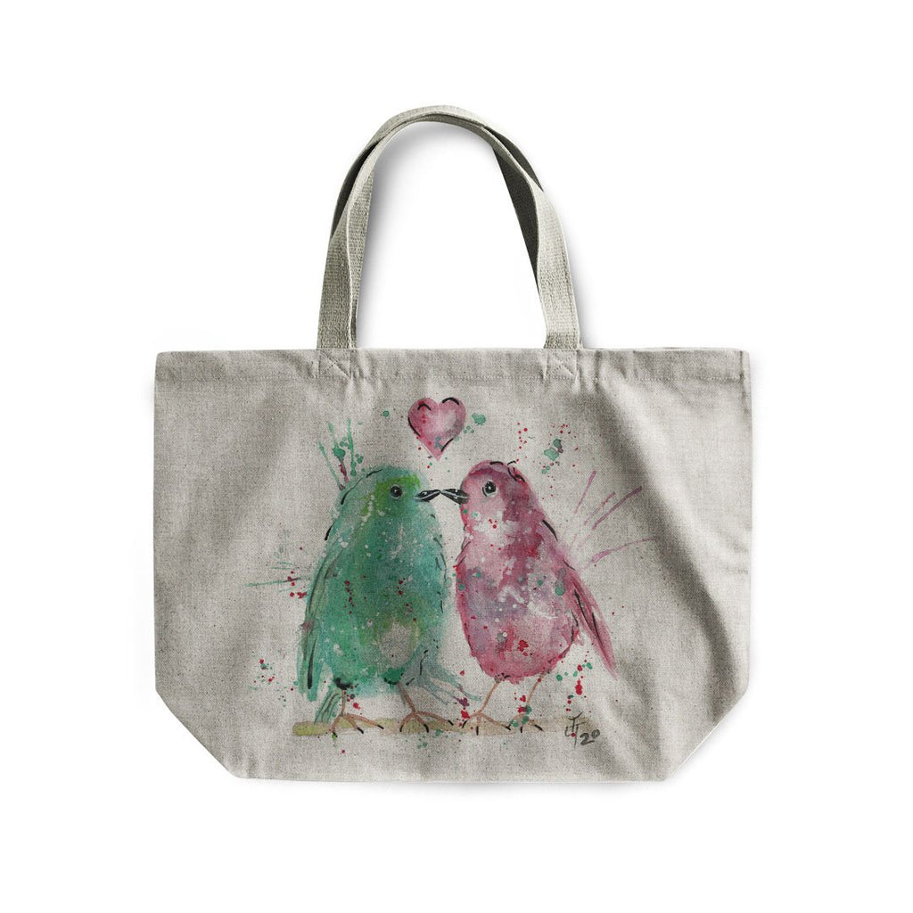 Tweet Heart Linen Tote Bag