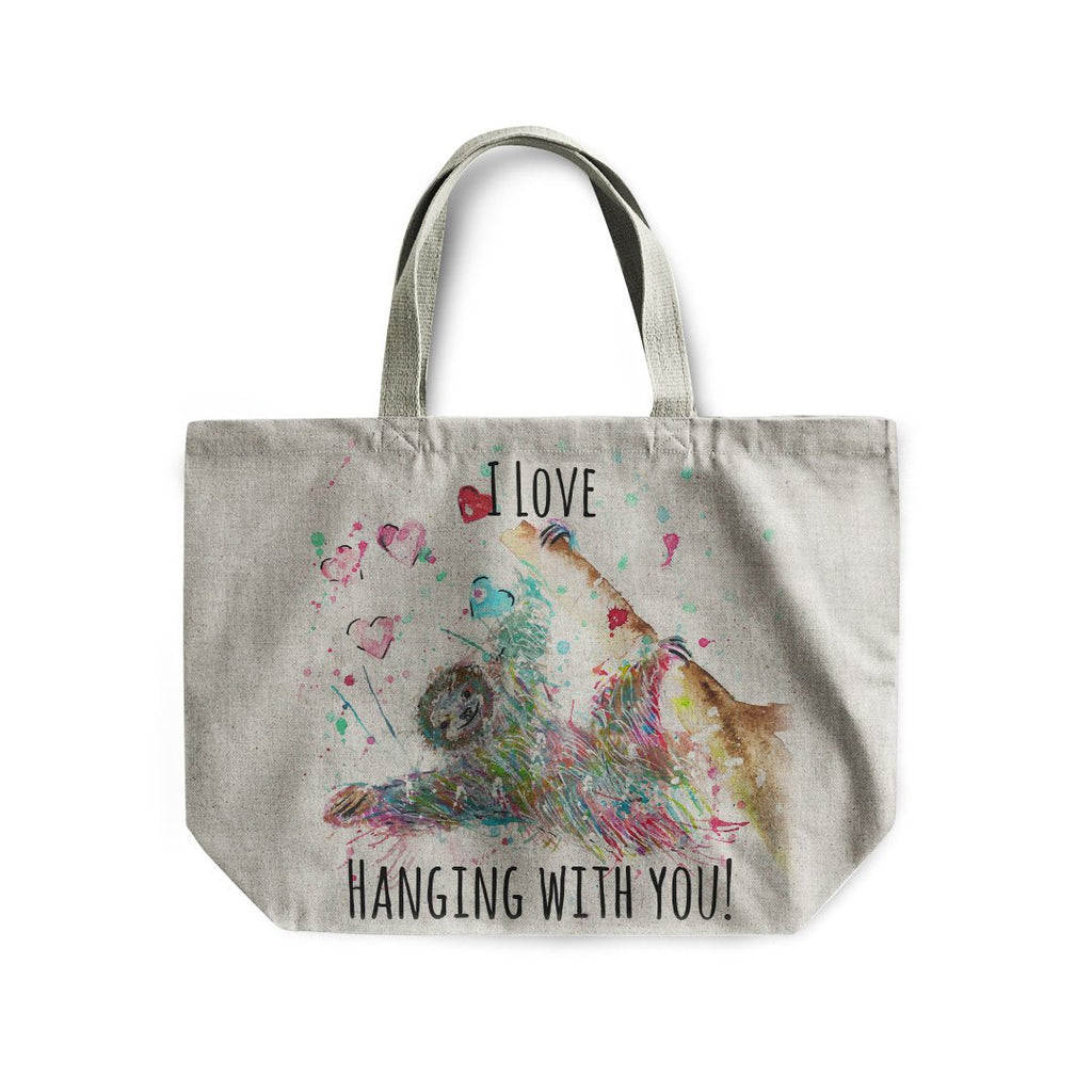 """I Love Hanging With You"" Sloth Linen Tote Bag"