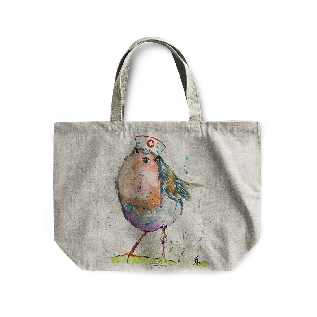 """Saviour"" Robin Linen Tote Bag"