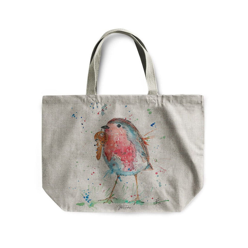 """Grateful"" Robin Linen Tote Bag"