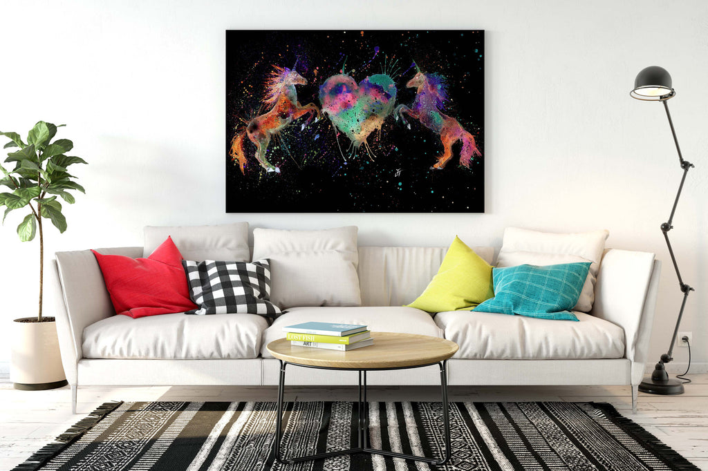 Unicorns with heart ready to hang canvas