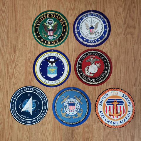 "US Military Branch Insignia Sign Collection 10"" Round"