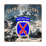 10th Mountain Climb to Glory Sign
