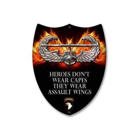 101st Airborne Heroes Wear Assault Wings Shield Sign