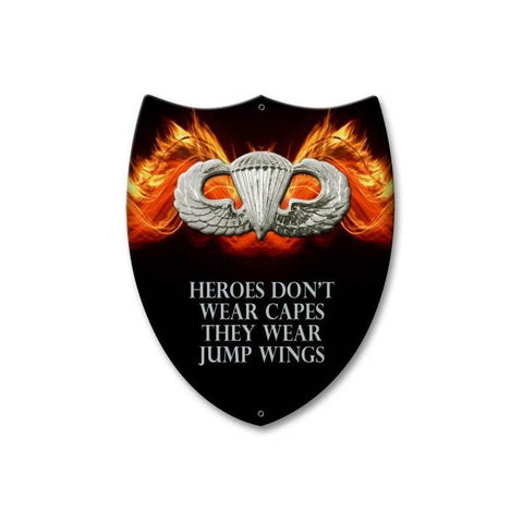 Airborne Heroes Wear Jump Wings Shield Sign