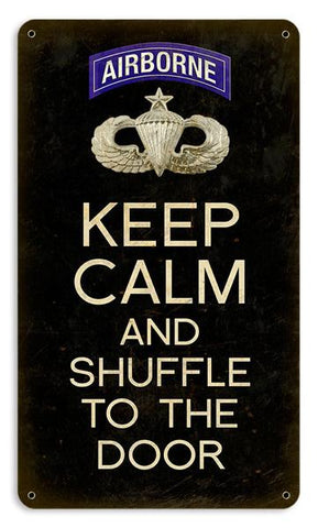 Keep Calm and Shuffle to the Door Senior Wings Sign