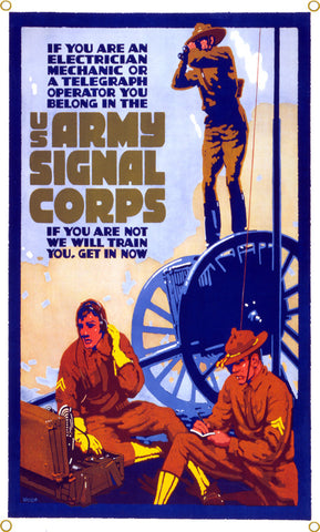 US Army Signal Corps Vintage Metal Art Sign