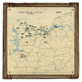 D-DAY JUNE 6TH 1944 Situation Map Framed Metal Art Sign