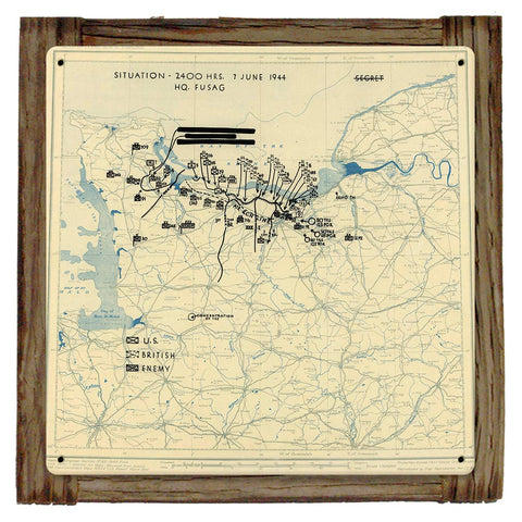D-DAY +1 JUNE 7TH 1944 Situation Map Framed Metal Art Sign