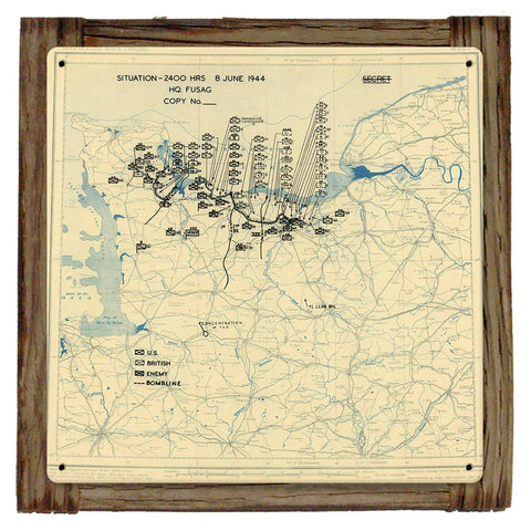 D-DAY +2 JUNE 8TH 1944 Situation Map Framed Metal Art Sign