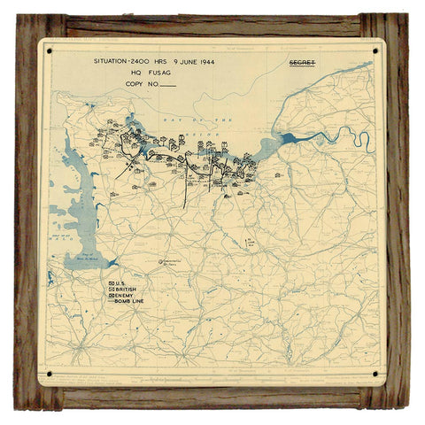 D-DAY +3 JUNE 9TH 1944 Situation Map Framed Metal Art Sign