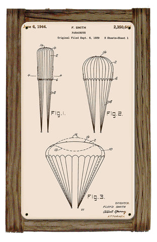 Round Canopy Parachute Patent Metal Art Sign