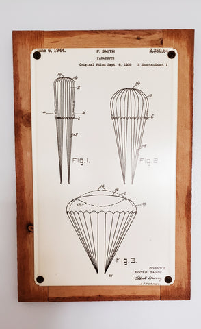 Airborne Parachute Patent Framed Metal Art Sign