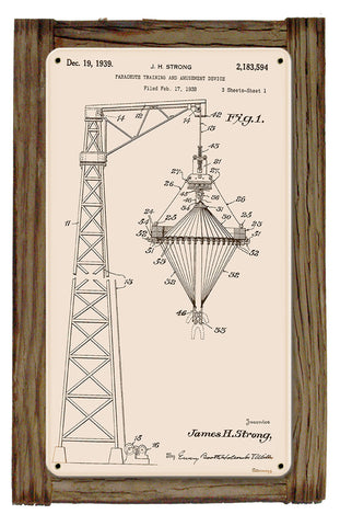 Parachute Training Tower Patent Metal Art Sign