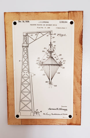 Airborne Parachute Tower Patent Framed Metal Art Sign