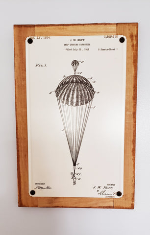 Self Opening Parachute Patent Framed Metal Art Sign