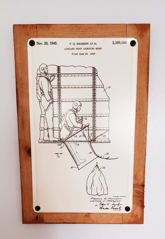 Airborne Paratrooper Launching Platform Patent Framed Metal Art Sign