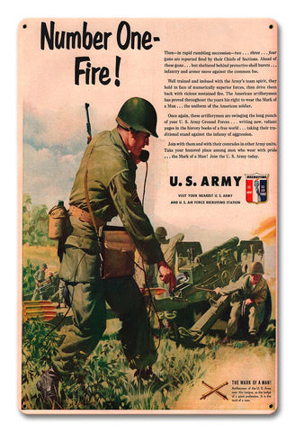 Artillery Recruiting Metal Art Sign
