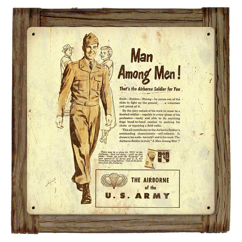 Man Among Men Airborne Recruiting Sign Framed