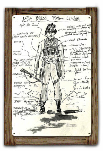 D-DAY Airborne Officer Dress and Equipment Sign Framed