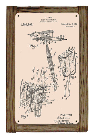 Airborne Safety Parachute Pack Patent Framed Metal Art Sign