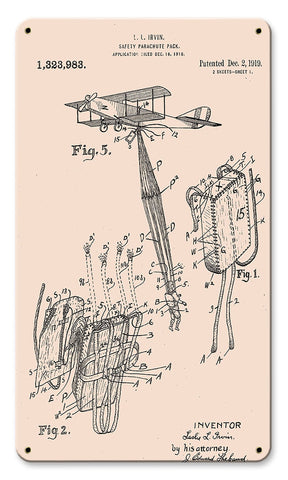 Airborne Safety Parachute Pack Patent Metal Art Sign