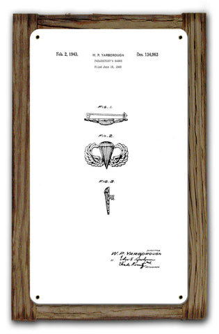 Airborne Jump Wings Patent Framed Metal Art Sign