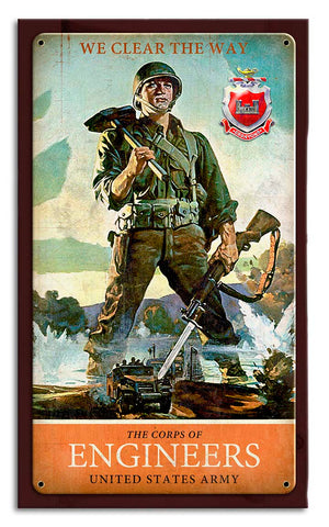 Engineer Army Combat Metal Wood Frame Sign