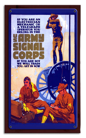 Signal Corps Vintage Recruiting Metal Art Wood Frame Sign