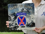 Climb to Glory 10th Mountain Sign
