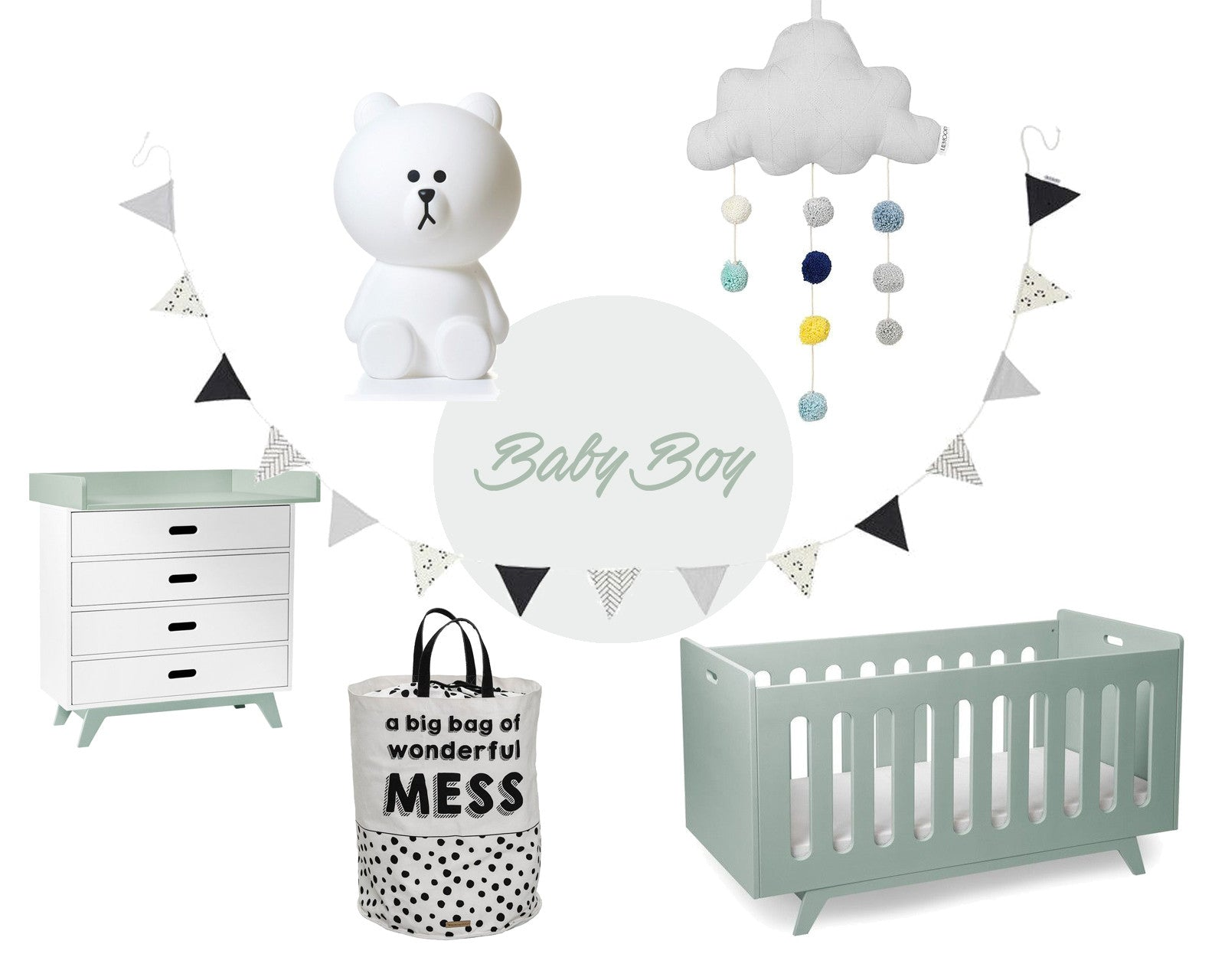 Baby Boy Mint Black & White