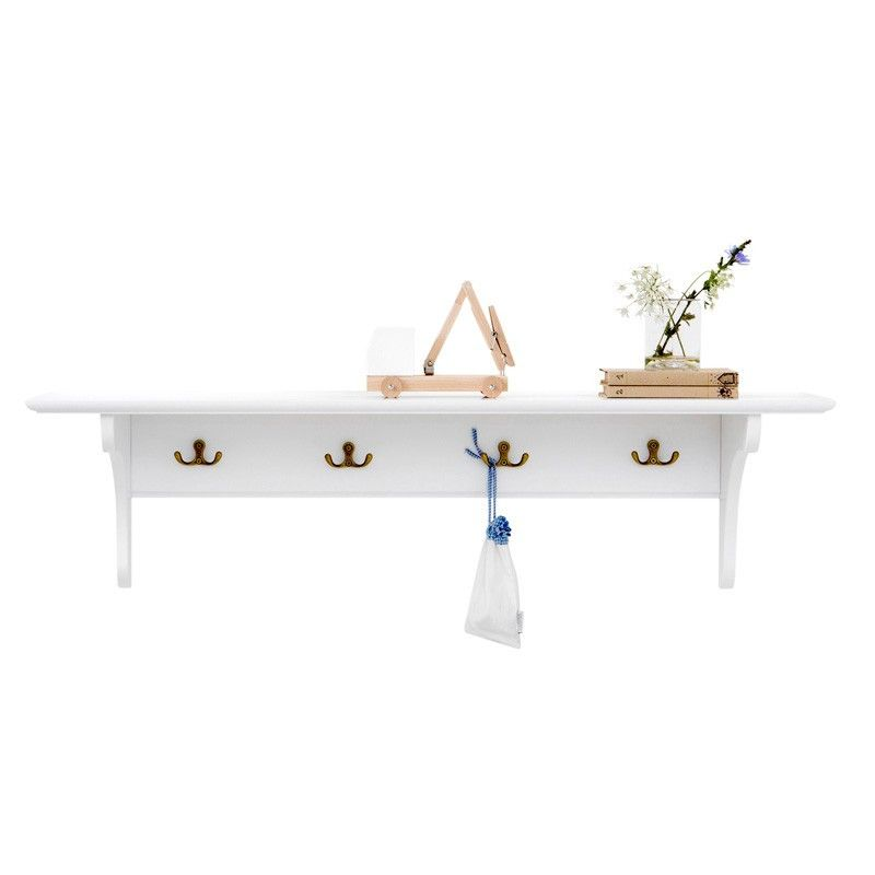 Oliver Furniture <br/> Wandregal/Garderobe mit 4 Haken Seaside <br/> Weiss,Regale, Oliver Furniture - SNOWFLAKE kindermöbel concept store