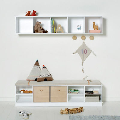 Oliver Furniture Shelf 5x1 compartments Wood White, shelves, Oliver Furniture - SNOWFLAKE children's furniture concept store