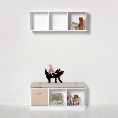 Oliver Furniture Wall shelf 3x1 compartments Wood White, shelves, Oliver Furniture - SNOWFLAKE children's furniture concept store