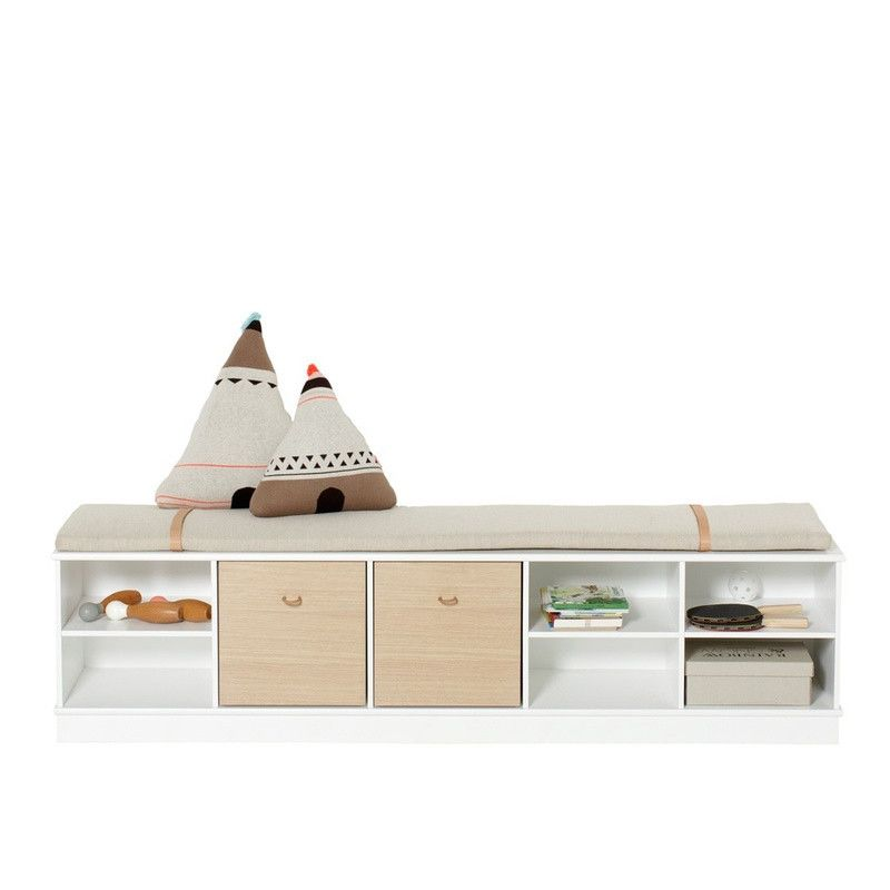 Oliver Furniture <br/> Sitzkissen mit Lederriemen Regal 5x1 <br/>Natur,Kissen, Oliver Furniture - SNOWFLAKE kindermöbel concept store