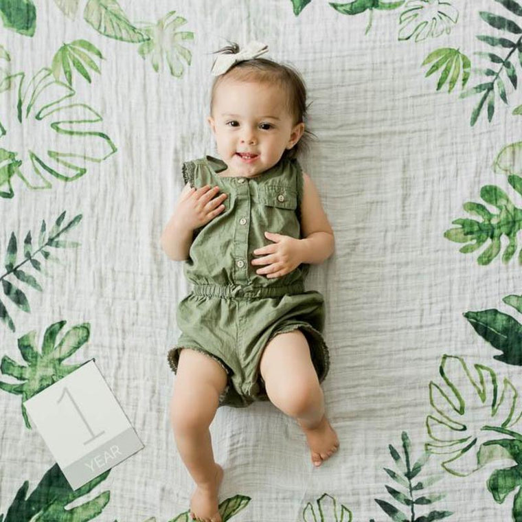 Little Unicorn <br/> Photo Blanket & Milestone Set <br/> Tropical Leaf