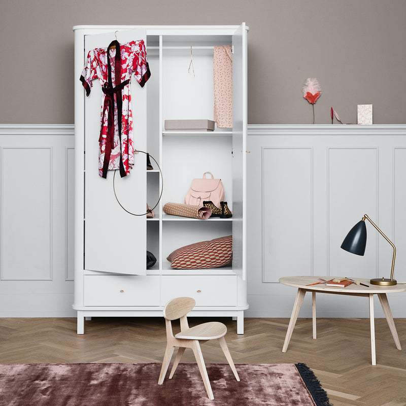 Oliver Furniture Wardrobe with 2 doors Wood White, cupboards, Oliver Furniture - SNOWFLAKE children's furniture concept store