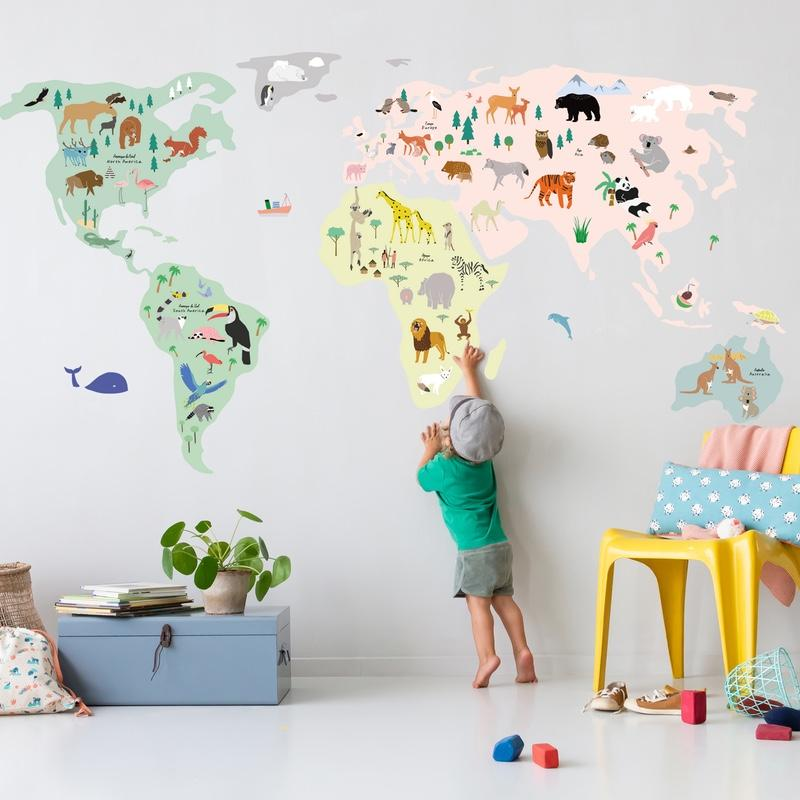 MIMI`lou <br/> Wandsticker Giant World Map <br/> Bunt