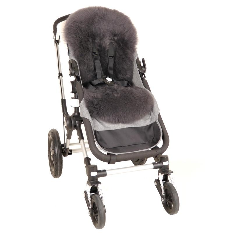 Kaiser Coprisedile in pelle di agnello, alta lana per Cybex & JOOLZ & UPPAbaby Early Grey