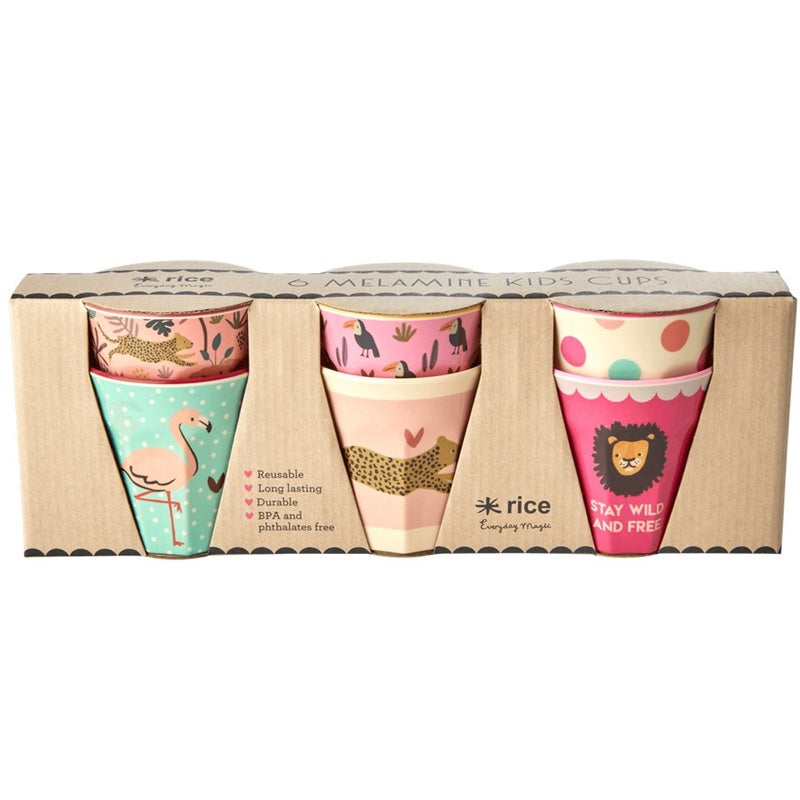 "Rice <br/> Melamin Kinder Becher 6er Set Klein ""Jungle Animals"" <br/> Coral"