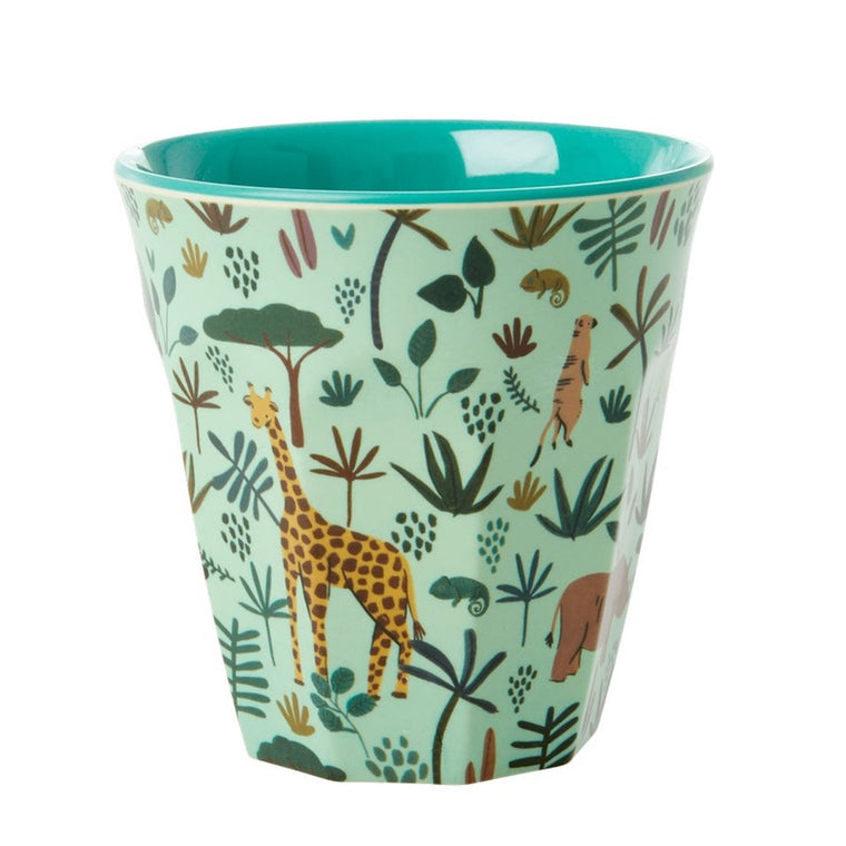 "Rice <br/> Melamin Kinder Becher ""Jungle Animals Two Tone"" <br/> Green"