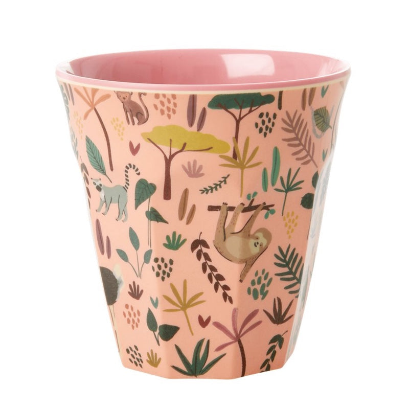 "Rice <br/> Melamin Kinder Becher ""Jungle Animals Two Tone"" <br/> Coral"
