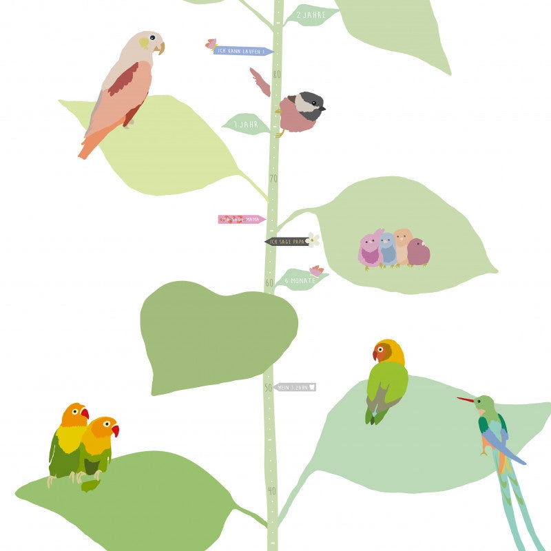 "MIMI`lou <br/> Wandsticker Messlatte ""WITH THE BIRDS"" deutsch <br/> Bunt"