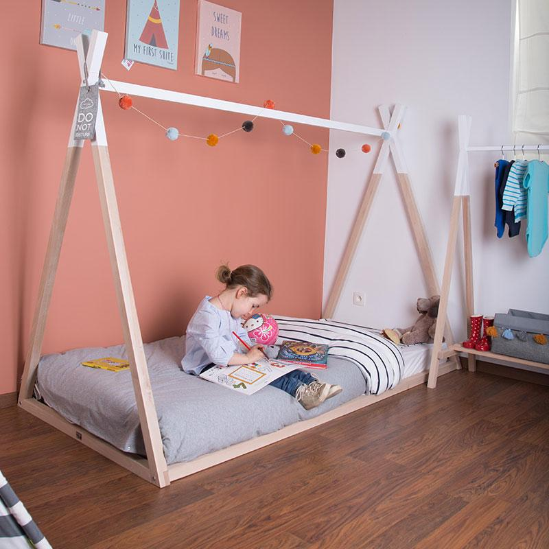 Childhome Tipi house bed cot Natural / white 90 x 200 cm
