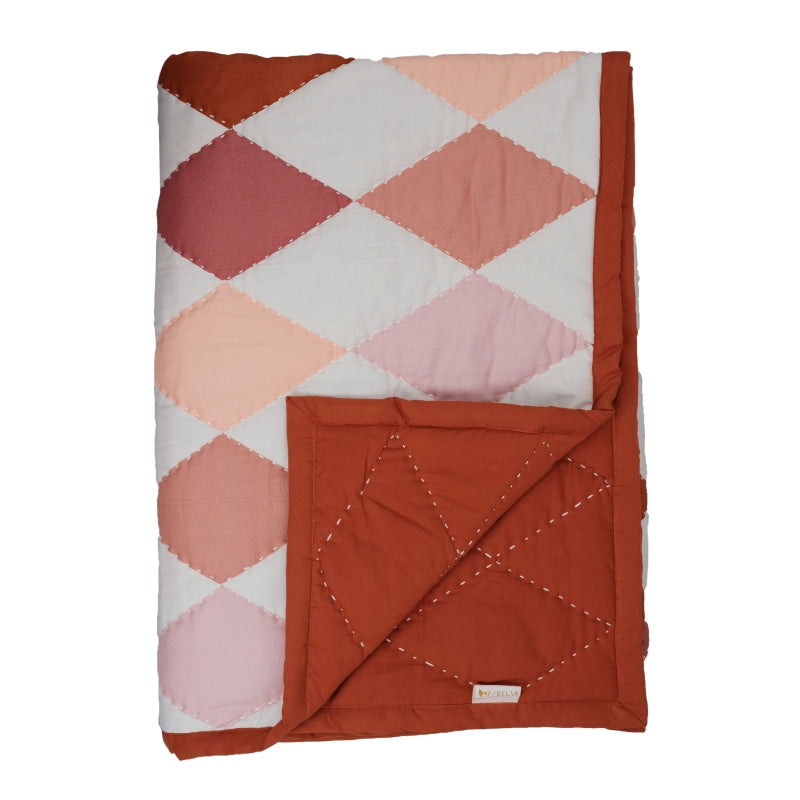 Fabelab <br/> Patchwork Tagesdecke Diamond <br/> Rose Mix