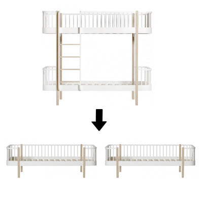 Oliver Furniture Wood conversion set Bunk bed to two sofa beds White / oak