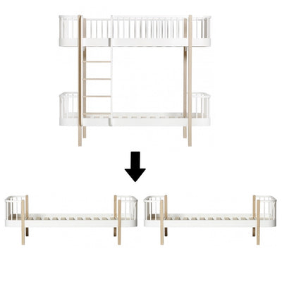 Oliver Furniture Wood conversion set Bunk bed to two single beds White / oak