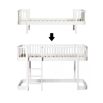Oliver Furniture Wood conversion set Single bed to half-height loft bed White, single beds, Oliver Furniture - SNOWFLAKE children's furniture concept store