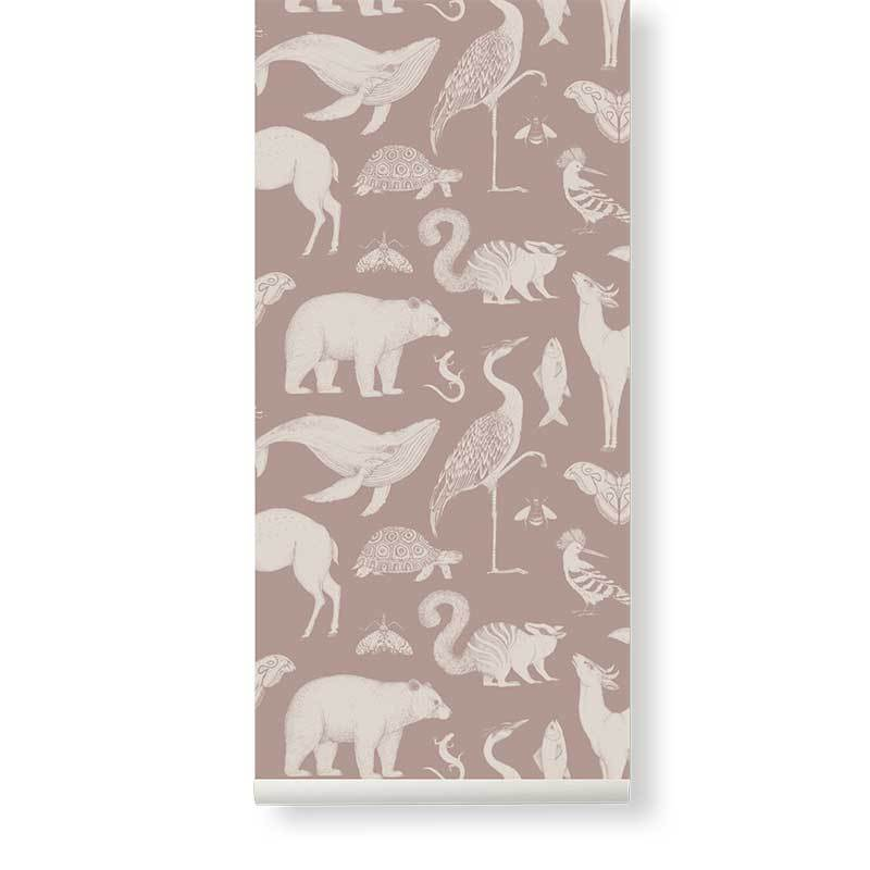 Ferm Living <br/> Katie Scott Tapete Animals <br/> Dusty Rose