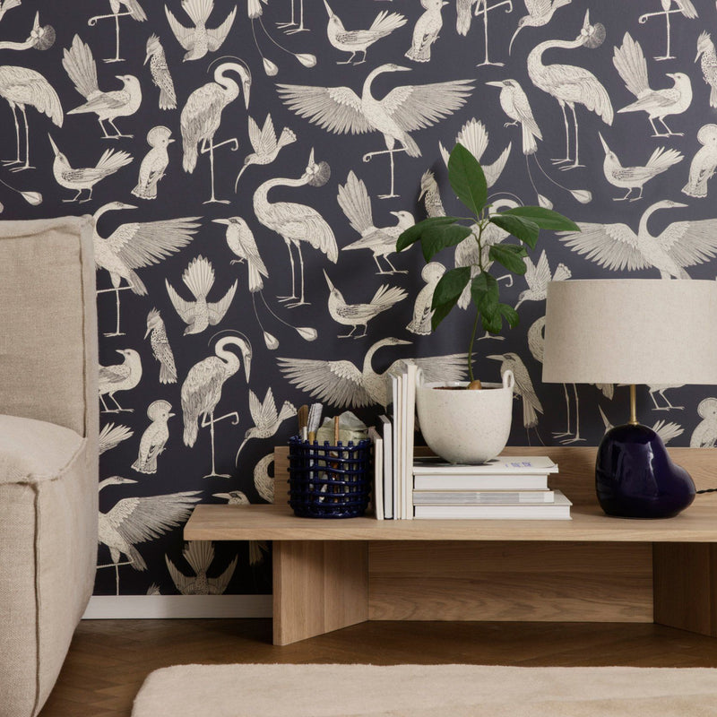 Ferm Living <br/> Katie Scott Tapete Birds <br/> Dark Blue
